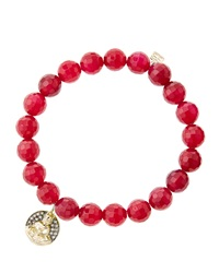 8Mm Faceted Red Agate Beaded Bracelet With 14K Gold Diamond Sitting Buddha Charm Made To Order