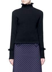 Shushu Tong Ruffle Trim Turtleneck Sweater Black