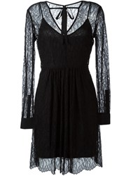 Mcq By Alexander Mcqueen Sheer Leaf Lace Dress Black