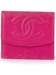 Chanel Vintage Logo Detail Coin Purse Pink And Purple