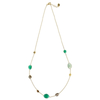 John Lewis Gemstones Gold Plated Onyx Hammered Disc Necklace Multi
