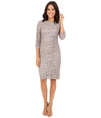 Rsvp Becca Lace Dress With Rouche Side Grey 1 Women's Dress Gray