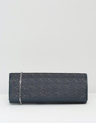 Lotus Clutch Bag With Mesh Detail Navy Mesh Shiny