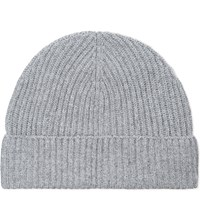 Gieves And Hawkes Ribbed Cashmere Beanie Grey