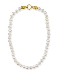 Elizabeth Locke Pearl Necklace With Gold Martin Clasp