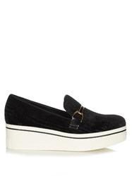 Stella Mccartney Binx Velvet Flatform Loafers Black