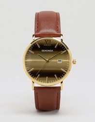 Sekonda Tan Leather Watch With Gold Dial Exclusive To Asos Tan
