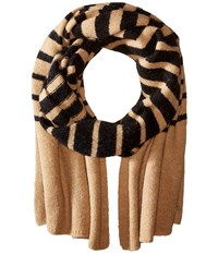Lauren Ralph Lauren Boiled Wool Stripe Blanket Scarf Black Frontier Tan Scarves Yellow