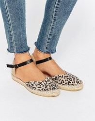 Selected Julia Leopard Two Part Espadrille Flat Sandals Leopard Multi