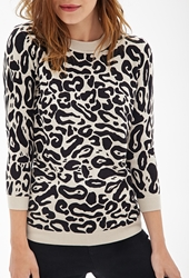 Forever 21 Leopard Print Crew Neck Sweater Tan Black