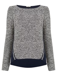 Oasis Tweed Patched Sweat Top Black White