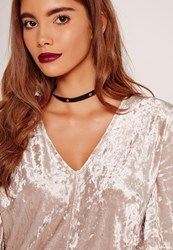 Missguided Flat Stud Tie Back Choker Necklace Black