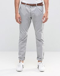 Esprit Garment Dye Chinos Trousers In Slim Fit Light Grey