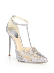 Rene Caovilla Jeweled Suede And Mesh T Strap Pumps