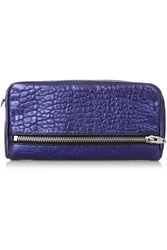 Alexander Wang Fumo Metallic Textured Leather Wallet Purple