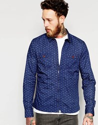 Pretty Green Shirt In Polka Dot With Zip Front Navy