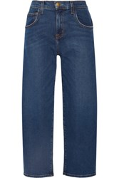 Current Elliott The Barrel Crop High Rise Wide Leg Jeans Mid Denim