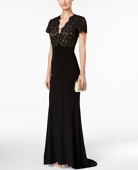Betsy And Adam Lace Cutout Back Gown Black
