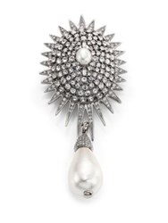 Oscar De La Renta Bridal Star Crystal And Faux Pearl Brooch Silver