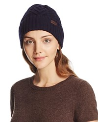 Barbour Lambswool Cuffed Cable Beanie Navy