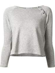 James Perse Cropped Buttoned Sweatshirt Grey
