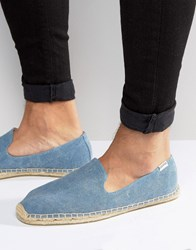 Soludos Washed Canvas Espadrilles Blue
