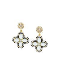 Freida Rothman Aqua Cz Crystal Clover Drop Earrings Women's
