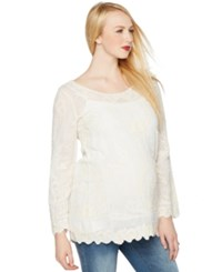 A Pea In The Pod Maternity Embroidered Tunic White