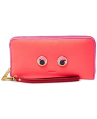 Fossil Emma Rfid Googly Eye Large Zip Clutch Wallet Neon Pink