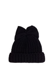 Federica Moretti Bow Detail Knitted Beanie Hat Navy