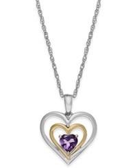 Macy's Amethyst Heart Pendant Necklace In 14K Gold And Sterling Silver 3 8 Ct. T.W.