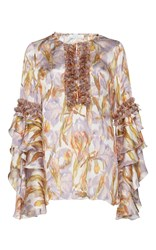 Andrew Gn Printed Long Sleeve Blouse White