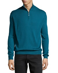 Neiman Marcus Wool Blend Half Zip Mock Turtleneck Sweater Deep Teal