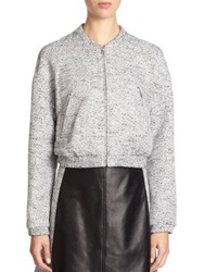 Tess Giberson Cropped Tweed Bomber Jacket Black Multi