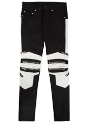 God's Masterful Children Monochrome Panelled Skinny Biker Jeans Black And White