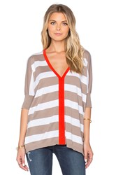 525 America Rugby Stripe Poncho Top Tan