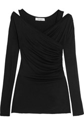 Bailey 44 Wrap Effect Stretch Jersey Top Black