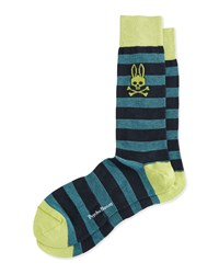 Melange Striped Socks Lime Green Psycho Bunny
