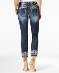 Miss Me Dark Wash Embroidered Cropped Jeans Dark Blue