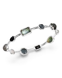 Ippolita Sterling Silver Rock Candy Medium Stone Oval Bangle In Black Tie Multi Silver