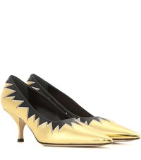 Miu Miu Metallic Leather Kitten Heel Pumps Gold
