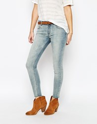 Supertrash Paradise Cropped Jeans With Frayed Ankle Blue