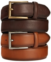 Nautica Anchor Charm Dress Belt Tan