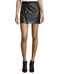 Zadig And Voltaire Jay Cuir Deluxe Zip Mini Skirt Noir