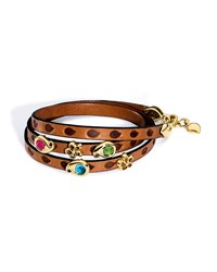 Loopy Mixed Cabochon Leather Wrap Bracelet Pink Tamara Comolli