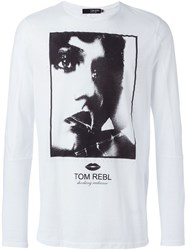 Tom Rebl Face Print Long Sleeve T Shirt White