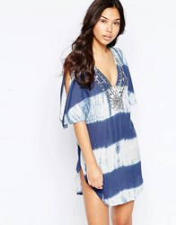 Liquorish Tie Dye Beach Tunic Top With Cold Shoulder Blue