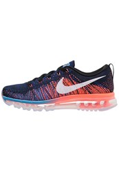 Nike Performance Flyknit Max Neutral Running Shoes Black White Blue Glow Bright Mango Deep Royal Blue