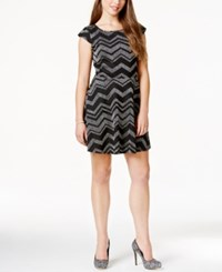 Fishbowl Juniors' Glitter Printed Fit And Flare Dress Black Silver