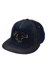 True Religion Men's Brand Jeans Stud Horseshoe Baseball Cap Blue Indigo